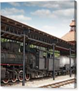 Railway Station With Old Steam Locomotive Canvas Print