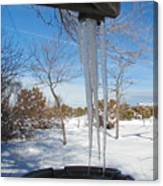 Rain Barrel Icicle Canvas Print