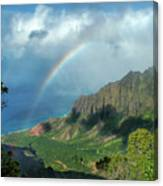 Rainbow At Kalalau Valley Canvas Print