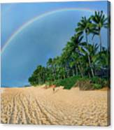 Rainbow At Pipeline, North Shore,  Canvas Print