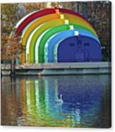 Rainbow Bandshell And Swan Canvas Print