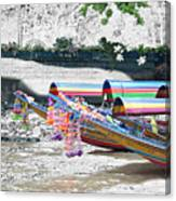 Rainbow Boats Thailand Photo Art Canvas Print