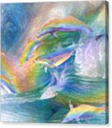 Rainbow Dolphins Canvas Print