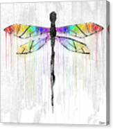 Abstract Dragonfly - White Rainbow Canvas Print