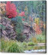 Rainbow Of The Season With River Canvas Print