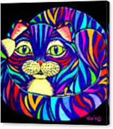 Rainbow Striped Cat 2 Canvas Print