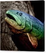 Rainbow Trout Wood Sculpture Canvas Print