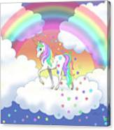 Rainbow Unicorn Clouds And Stars Canvas Print