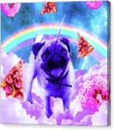 Rainbow Unicorn Pug In The Clouds In Space Canvas Print