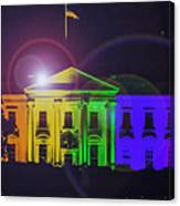 Rainbow White House Flare Canvas Print
