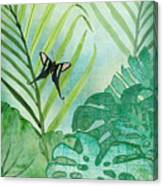 Rainforest Tropical - Philodendron Elephant Ear And Palm Leaves W Botanical Butterfly Canvas Print