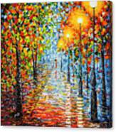 Rainy Autumn Evening In The Park Acrylic Palette Knife Painting Canvas Print