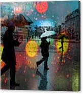 Rainy City Scene Canvas Print