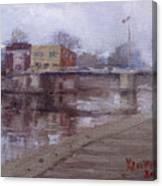 Rainy Day At Tonawanda Canal Canvas Print