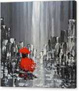 Rainy Day City Girl In Red Canvas Print
