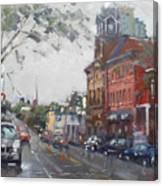 Rainy Day In Downtown Brampton On Canvas Print