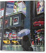 Rainy Day In Times Square Canvas Print