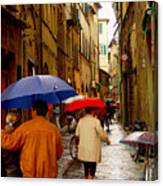 Rainy Day Shopping In Italy Canvas Print