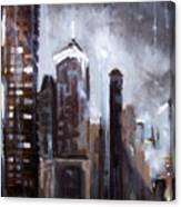 Rainy Night Downtown Canvas Print