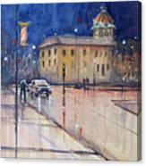 Rainy Night In Green Bay Canvas Print