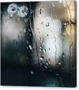 Rainy Window City Lights Canvas Print