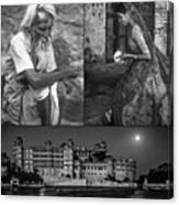 Rajasthan Collage Bw Canvas Print