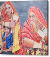 Rajasthani Ladies With Traditional Jewelry Canvas Print