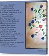 Rambling Rose Blues - Poetry In Art Canvas Print