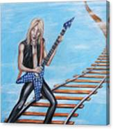 Randy Rhoads On The Tracks Of The Crazy Train Canvas Print