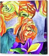 Ranunculus And Iris Canvas Print