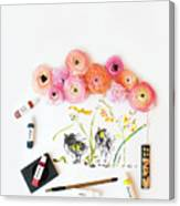 Ranunculus With First Watercolor Canvas Print