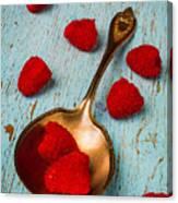 Raspberries With Antique Spoon Canvas Print