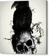 Raven And Skull Canvas Print