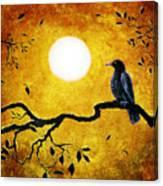 Raven In Golden Splendor Canvas Print