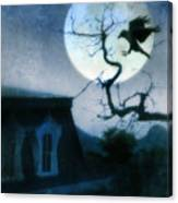 Raven Landing On Branch In Moonlight Canvas Print