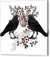 Ravens And Anatomical Heart Canvas Print