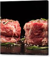 Raw Steak Meat On The Dark Surface Canvas Print