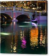Razzle Dazzle - Colorful Neon Lights Up Canals And Gondolas At The Venetian Las Vegas Canvas Print