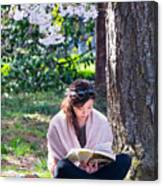 Reading Beneath The Cherry Blossoms Canvas Print
