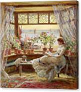 Reading By The Window Canvas Print