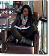 Reading In Starbucks Canvas Print