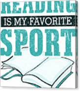 Reading Is My Favorite Sport Light Blue Canvas Print