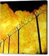 Realistic Fiery Explosion Behind Restricted Area Barbed Wire Fence Canvas Print