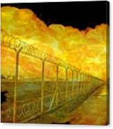 Realistic Orange Fire Explosion Behind Restricted Area Barbed Wire Fence Canvas Print