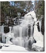 Receding Winter Ice At Ganoga Falls Canvas Print