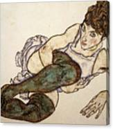 Reclining Woman With Green Stockings Canvas Print