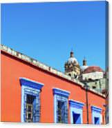 Red And Blue Colonial Architecture Canvas Print