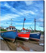 Red And Blue Fishing Boats Tenby Port Canvas Print