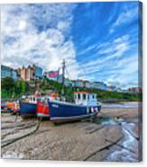 Red And Blue Fishing Trawler In Low Tide Canvas Print