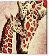 Red And Brown Giraffes Canvas Print